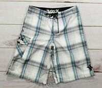 Boy's Hurley Board Shorts Swim Trunks Plaid Blue Gray  Size 16 EUC!