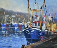 Richard Blowey Original Oil Painting - Boats In A Harbour Cornwall (Cornish Art)