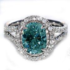 Engagement Wedding 925 Silver Ring 6.50 Ct Vvs1-/Blue Oval Moissanite Diamond