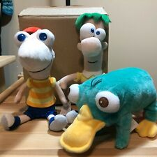 "DISNEY PHINEAS & FERB WITH PERRY THE PLATYPUS PLUSH STUFFED ANIMAL SET 11"" MINT"