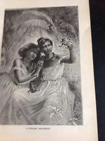H2-2 Ephemera 1872 Book Plate - The Amazon Native Ladies With Small Snake
