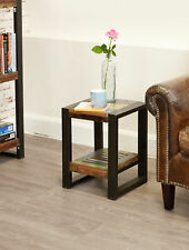 Urban Chic Furniture Reclaimed Wood Low Lamp Table With Shelf Steel Frame