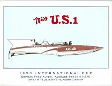 1958 Miss U.S. I International Cup Hydroplane Art Print - by R.J. Tully