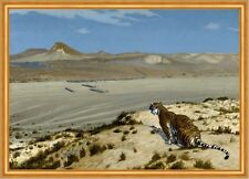 Tiger on the watch Jean-LEON GEROME animaux désert cachent sable dunes B a1 02538