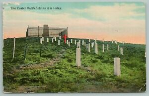 Montana~Custer Battlefield Marked By Graves & Crosses~Vintage Postcard