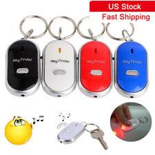 LED Key Finder Locator Flashing Alarming Key Chain Whistle Beep Sound Control BI