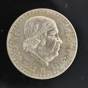 💎 1947 Silver Mexico 1 Peso About Uncirculated Coin
