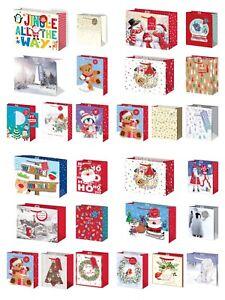 2 PACK LARGE & EXTRA LARGE JUMBO CHRISTMAS GIFT BAG XMAS SANTA SNOWMAN PRESENT