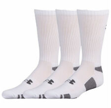 Under Armour Men's Crew Socks 3 Pack Medium 4 - 8.5 White Heatgear Training New