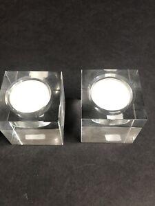 "NEW Set of 2 Crate & Barrel ""Osio"" Tea Light Votive Holders Clear Cube Modern"