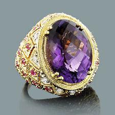 Echtschmuck Ringe Diamanten Amethyst Saphir 750er 18 Karat Gelbgold  Gold