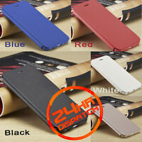 For Apple iPhone Models 100% Genuine SLIM PU Leather Flip Case Wallet Cover