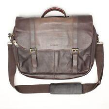 Samsonite Leather Messenger Laptop Bag Case Shoulder Strap Brown Distressed Soft