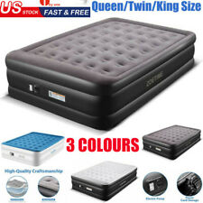 Pillow Rest Inflatable Air Mattress Blow Up Bed Built-In Pump Queen/Twin/King