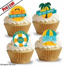PRE-CUT SUMMER HOLIDAY EDIBLE WAFER PAPER CUP CAKE TOPPERS PARTY DECORATIONS