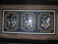 ANTIQUE CHINESE SILK GOLD METALLIC THREAD EMBROIDERED PANEL PICTURE