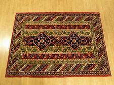 4.2 x 6 High Quality Handmade Vegetable Dye Fine Wool Afghan Caucasian Kazak Rug