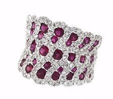 Diamond and Ruby Weave Band Ring in 18k White Gold 2.76 cttw --  HM1846