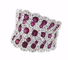 diamante y rubí Weave Banda Anillo en 18ct Oro Blanco 2.76 Cttw hm1846
