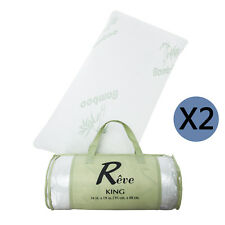 King Size Set of 2 Bamboo Hypoallergenic Memory Foam Pillow with Travel Bag