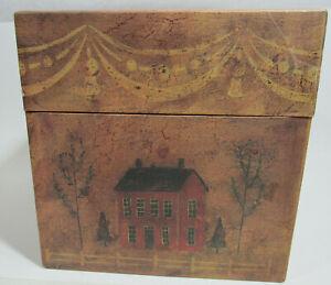 "Bob's Boxes ™ 9"" x 9"" x 9"" Cardboard Decorative Box w/Lid ""The Farmhouse"" New"