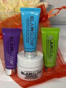GLAMGLOW Mini Gift Set PowerMud Thirstymud Gravitymud Supermud .35/.5oz FastFree
