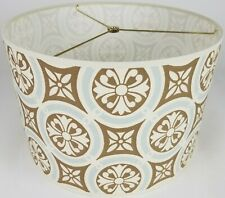 "NEW Drum Lamp Shade 15"" Dia 10"" H Traditional Light Blue & Brown Fabric"