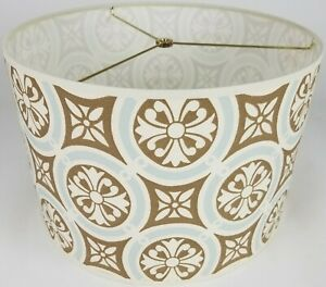 """NEW Drum Lamp Shade 15"""" Dia 10"""" H Traditional Light Blue & Brown Fabric"""