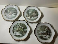 Set of 4 Beautiful Currier & Ives Plates - Rural Winter Scenes