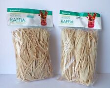 NATURAL RAFFIA Tan Colored 2 BAGS Made of Palm Tree Fibers, 61 cubic Inches each