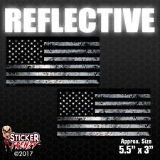 "REFLECTIVE 2 Pack USA ""BLACK GRUNGE"" Flag Sticker Car Truck Vinyl Decal #FS2005"
