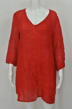 FLAX Red Gauzy 100% Linen Tunic Top Shirt Size M Medium