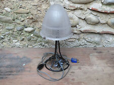 Antique Lamp Wrought Iron and Shade Glass Muller Brothers Luneville Roses French