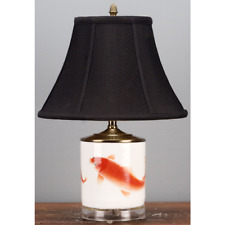 PORCELAIN KOI GOLD FISH  FENG SHUI TABLE LAMP,12'' X 17''H.