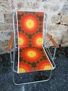 Chaise pliante vintage flower power