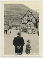 Heppenheim - Auflug VW-Käfer Brunnen Fachwerkhaus Autos - altes Foto 1954