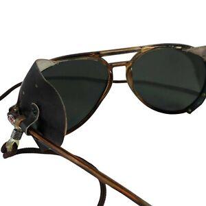 Original, Authentic I SKI Iconic Aviator Sunglasses with Leather Blinders & Case