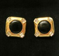 "DESIGNER ""CINER"" VINTAGE GOLD TONE BLACK ONYX BAGUETTES CLIP EARRINGS SIGNED"
