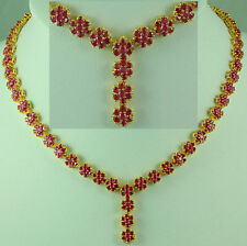 FASHION JEWELRY GEM 14K YELLOW GOLD RED RUBY SAPPHIRE lady Beauty NECKLACE Q161