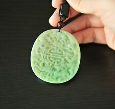 Certified Grade Green Two sided Icy Double Dragon Jadeite Jade Pendant Necklace
