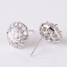 Particular Fit 18k White Gold Filled Round Crystal Lady Stud Earring