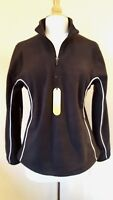 Tombo Ladies black Half Zip Micro Fleece Sports/Gym Top Size L UK 14 BNWT