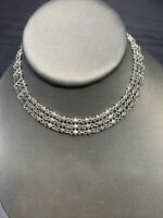 Vintage Necklace  Silvertone detailed link choker length necklace 14 inches