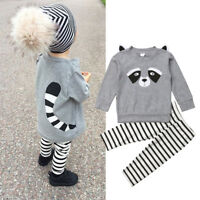 US Raccoon Newborn Infant Baby Girl Boy Outfits Clothes T-shirt Tops+ Long Pants