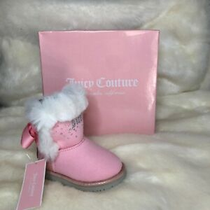 NWT JUICY COUTURE PINK BABY TODDLER LIL' BURBANK FAUX FUR EMBELLISHED BOOTS