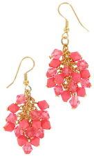 Earrings Gold Tone Coral Beaded Fringe Dangle