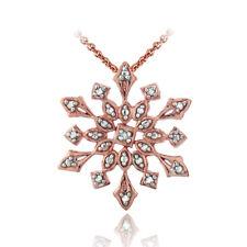 Rose Gold Tone over 925 Silver Genuine Diamond Accent Snowflake Pendant