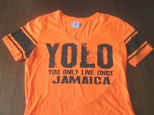 YOLO JAMAICA T-Shirt Women's Size M Hi-Vis Orange V-Neck 100% Polyester Thin Tee