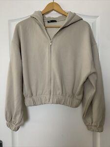 Zara Stone Beige Cropped Zip Up Hoodie Cardigan Jumper Elastic Hem Size L VGC