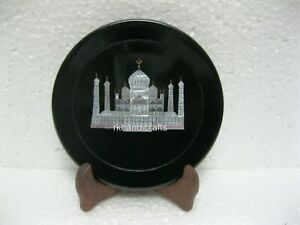 Black Marble Inlay Decor Plate with Taj Mahal Replica Collectible Plate 05 Inch